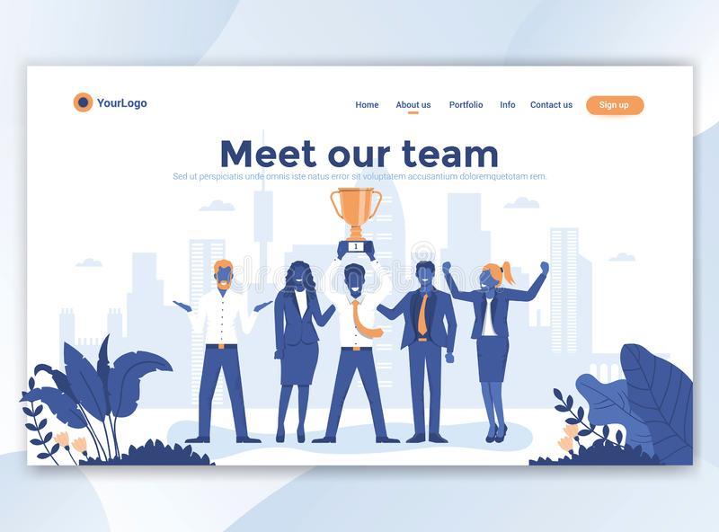 Επίπεδο σύγχρονο σχέδιο του προτύπου wesite - συναντήστε την ομάδα μας ελεύθερη απεικόνιση δικαιώματος
