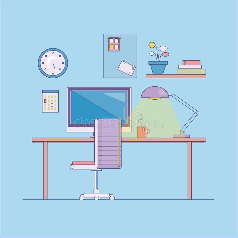 Επίπεδο σύγχρονο illustratoin, χώρος εργασίας απεικόνιση αποθεμάτων