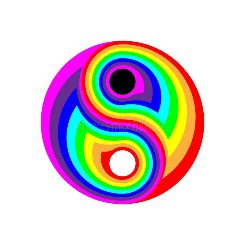 Επίπεδο σύμβολο ουράνιων τόξων έννοιας yin-yang Ψηφιακός ηλεκτρονικός, disco δια την αφαίρεση rave : r ελεύθερη απεικόνιση δικαιώματος