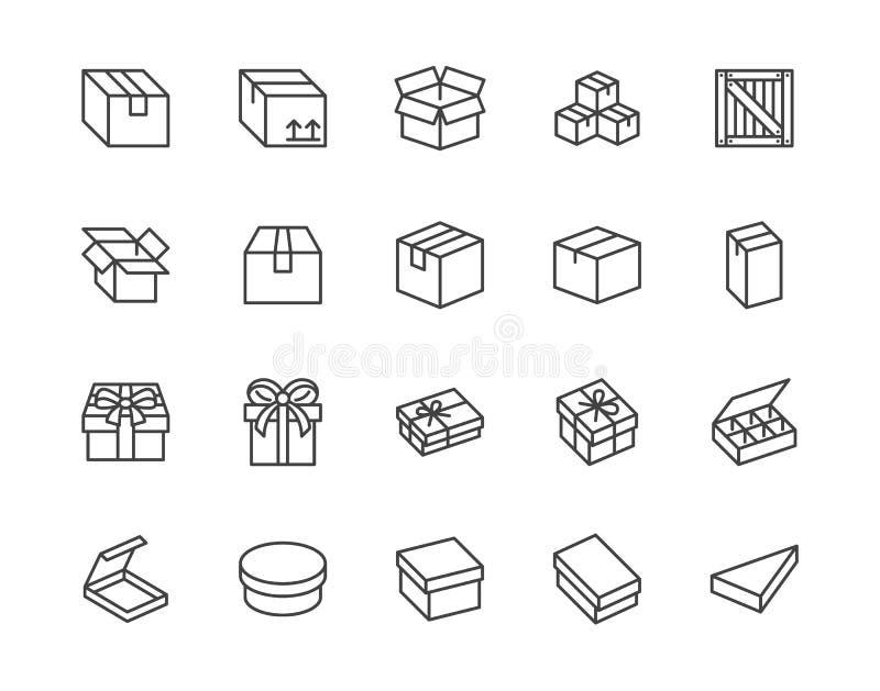 Επίπεδο σύνολο εικονιδίων γραμμών κιβωτίων Χαρτοκιβώτιο, ξύλινα κιβώτια, συσκευασία προϊόντων, διανυσματικές απεικονίσεις δώρων Α διανυσματική απεικόνιση