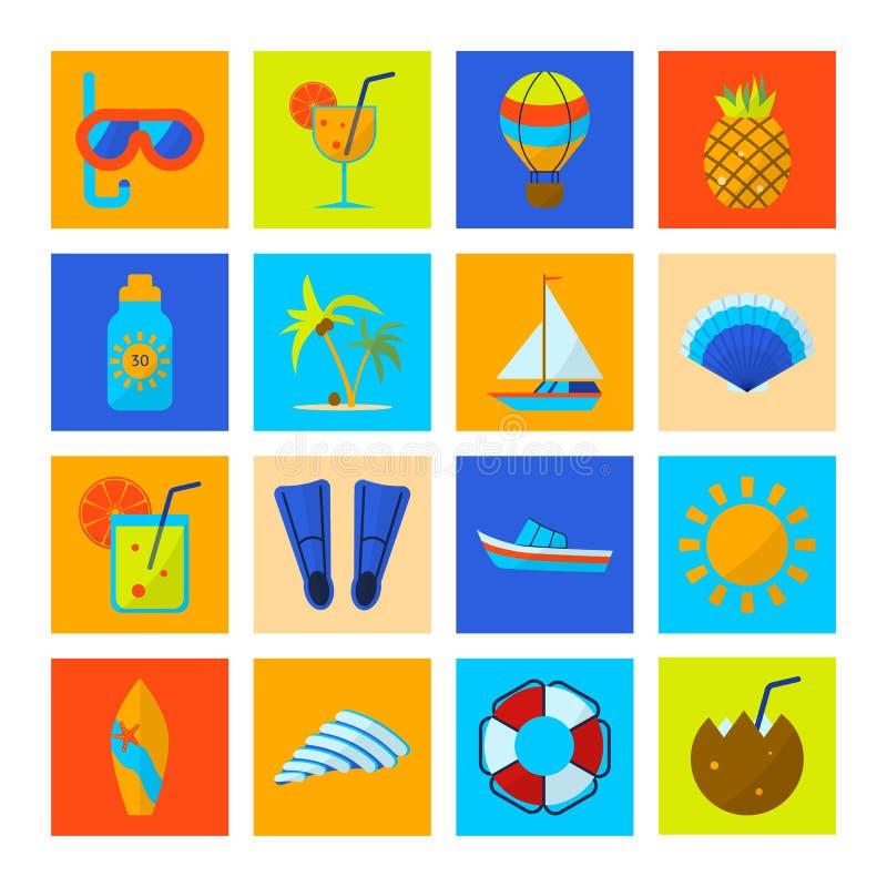 Επίπεδο σύνολο εικονιδίων καλοκαιρινών διακοπών χρώματος Αθλητισμός και αναψυχή στοκ φωτογραφία
