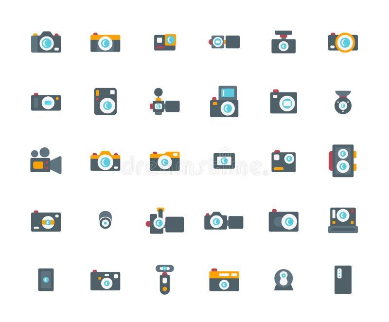 Επίπεδο σύνολο εικονιδίων καμερών απεικόνιση αποθεμάτων