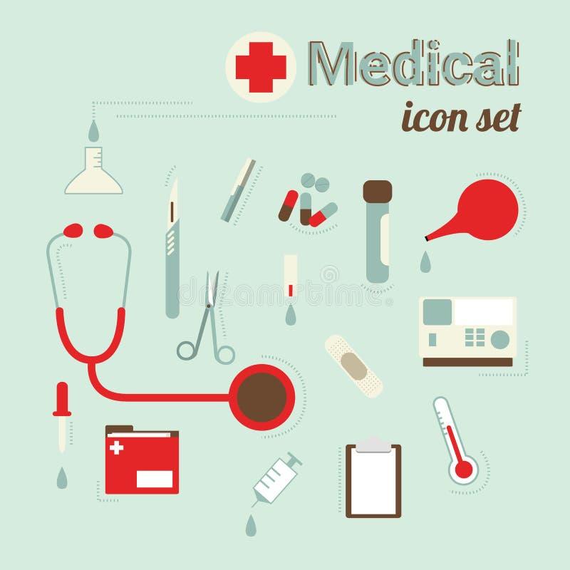 Επίπεδο σύνολο εικονιδίων σχεδίου ιατρικής φροντίδας και υγείας διανυσματική απεικόνιση