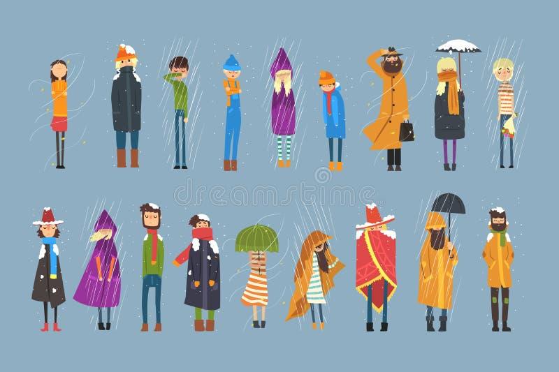 Επίπεδο σύνολο χαρακτήρων ανθρώπων κινούμενων σχεδίων που παγώνει έξω Βροχερός και χιονώδης καιρός Αγόρι με την ανθοδέσμη των λου ελεύθερη απεικόνιση δικαιώματος