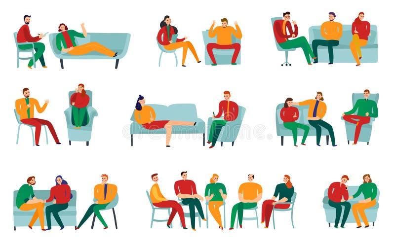 Επίπεδο σύνολο ψυχοθεραπευτών διανυσματική απεικόνιση