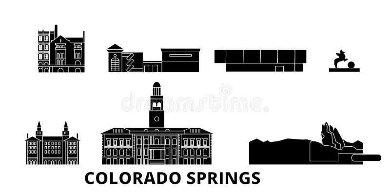 Επίπεδο ταξιδιού σύνολο οριζόντων Ηνωμένου, Colorado Springs Διανυσματική απεικόνιση Ηνωμένων, Colorado Springs μαύρη πόλεων διανυσματική απεικόνιση