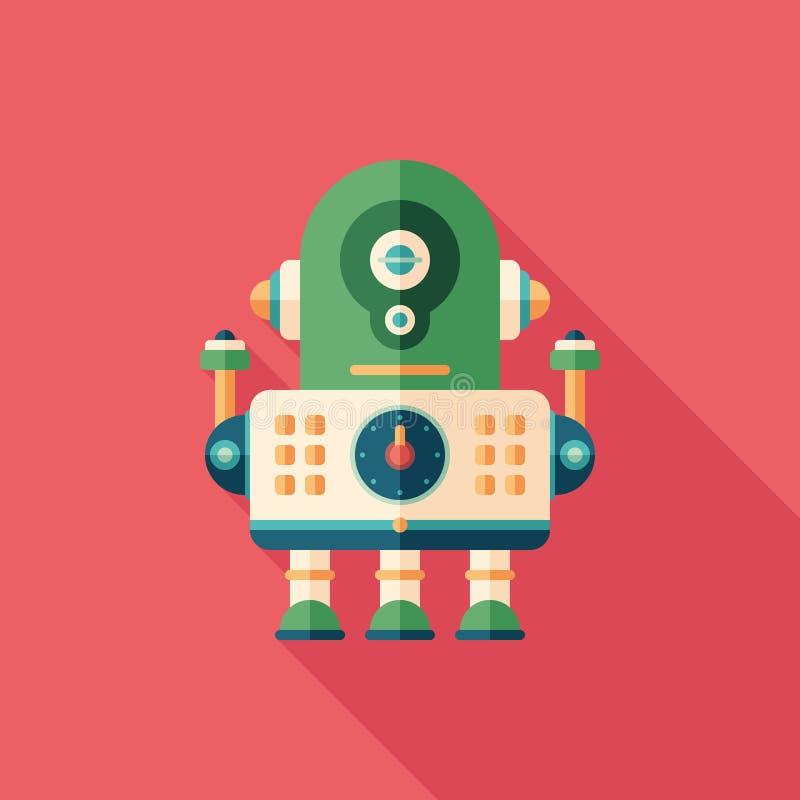 Επίπεδο τετραγωνικό εικονίδιο μηχανικών ρομπότ με τις μακριές σκιές απεικόνιση αποθεμάτων