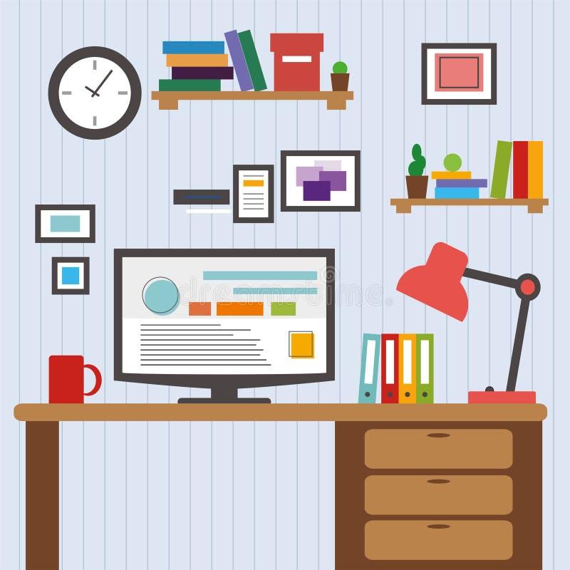 Επίπεδο του σύγχρονου υπολογιστή γραφείου σχεδιαστών γραφείων εσωτερικού που παρουσιάζει εφαρμογή σχεδίου με τα στοιχεία εικονιδί ελεύθερη απεικόνιση δικαιώματος