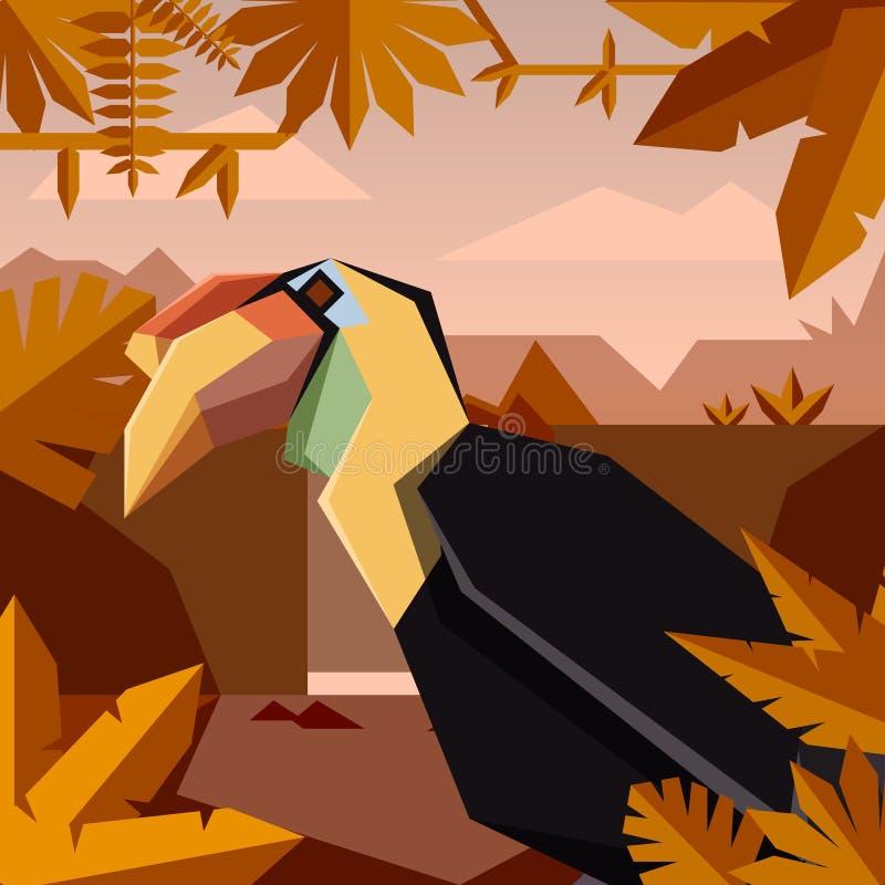 Επίπεδο υπόβαθρο ζουγκλών με ζαρωμένος hornbill ελεύθερη απεικόνιση δικαιώματος