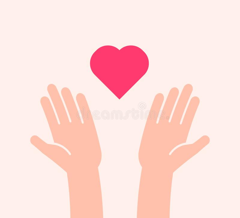 Επίπεδο υπόβαθρο με δύο χέρια που λαμβάνουν ή που στέλνουν το εικονίδιο καρδιών Διανυσματική απεικόνιση για τη φιλανθρωπία, βοήθε διανυσματική απεικόνιση