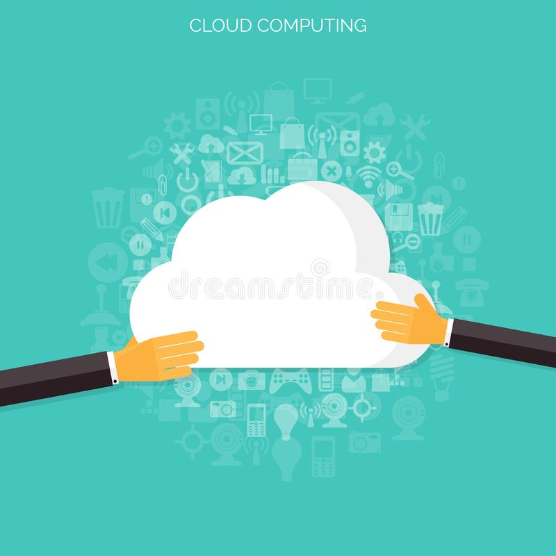 Επίπεδο υπόβαθρο υπολογισμού σύννεφων Τεχνολογία δικτύων αποθήκευσης στοιχείων Περιεχόμενο πολυμέσων και φιλοξενία ιστοχώρων ελεύθερη απεικόνιση δικαιώματος