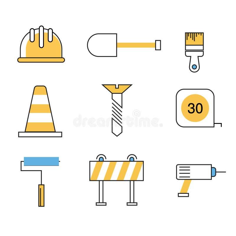 Επίπεδο ύφος γραμμών εικονιδίων εργαλείων Contruction στοκ φωτογραφία με δικαίωμα ελεύθερης χρήσης