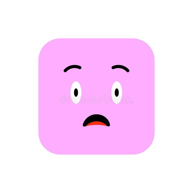 Επίπεδο ύφος εικονιδίων Emoji Χαριτωμένο στρογγυλευμένο Emoticon τετράγωνο στην ημέρα παγκόσμιου χαμόγελου Θυμός, θλίψη, που υφίσ ελεύθερη απεικόνιση δικαιώματος