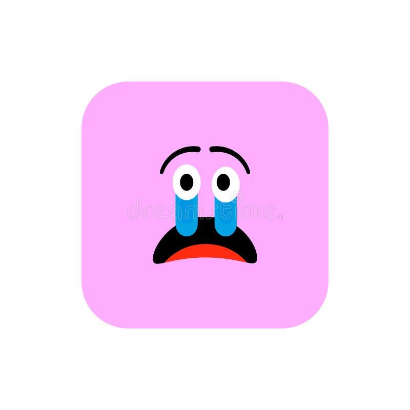 Επίπεδο ύφος εικονιδίων Emoji Χαριτωμένο στρογγυλευμένο Emoticon τετράγωνο στην ημέρα παγκόσμιου χαμόγελου Θυμός, θλίψη, που υφίσ απεικόνιση αποθεμάτων