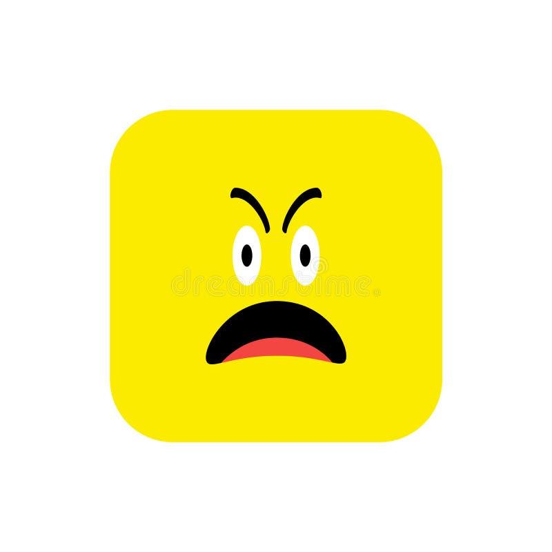 Επίπεδο ύφος εικονιδίων Emoji Χαριτωμένο στρογγυλευμένο Emoticon τετράγωνο στην ημέρα παγκόσμιου χαμόγελου Θυμός, θλίψη, που υφίσ διανυσματική απεικόνιση