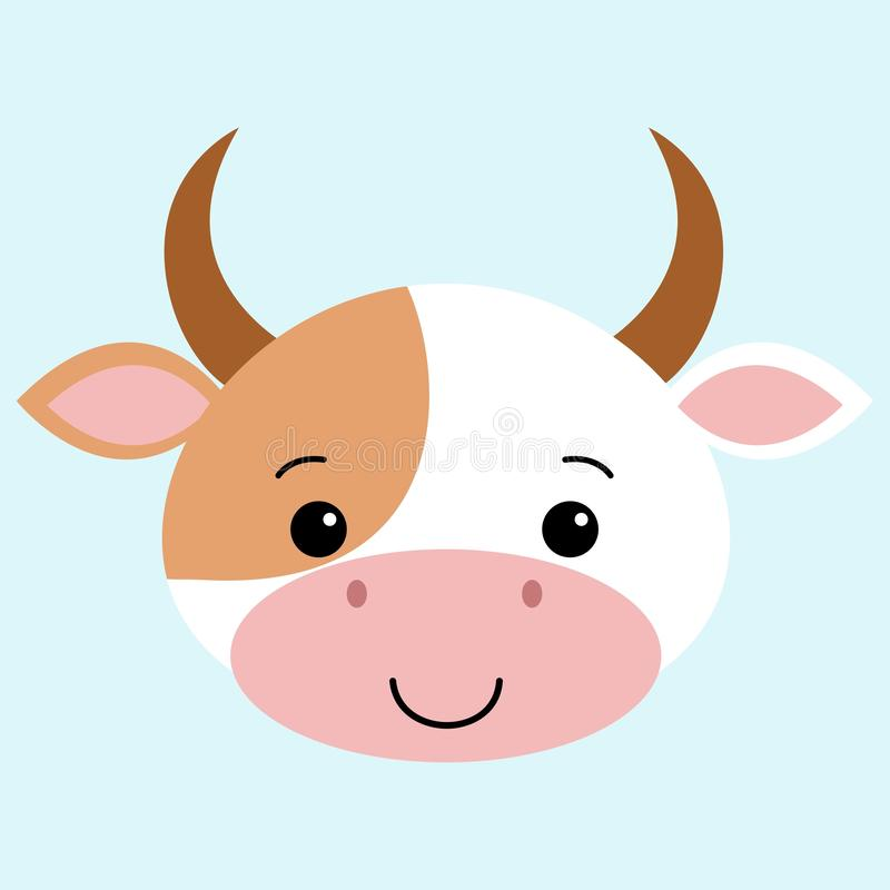 Επίπεδο ύφος κινούμενων σχεδίων αγελάδων, χαριτωμένο διανυσματικό αστείο ζωικό kawaii απεικόνισης διανυσματική απεικόνιση