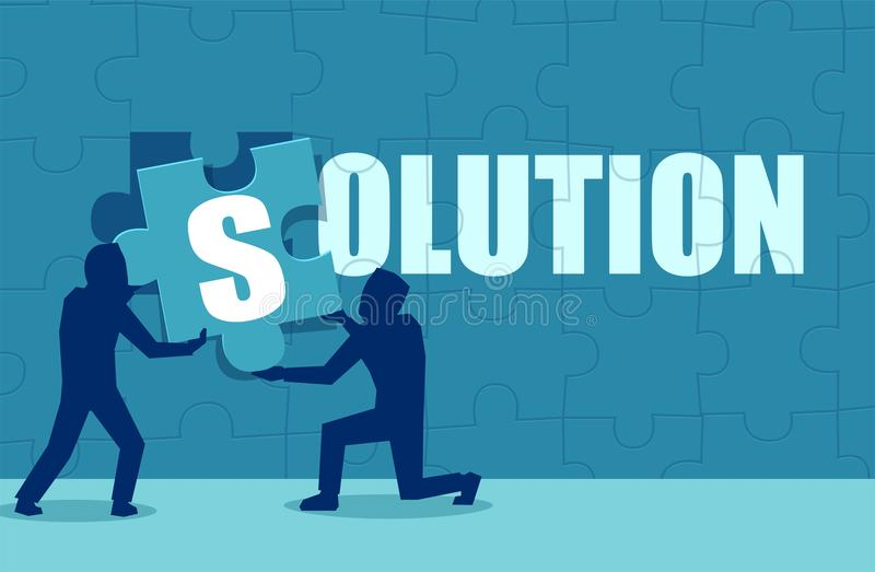 Επίπεδο ύφος των επιχειρηματιών που βρίσκουν τη λύση ελεύθερη απεικόνιση δικαιώματος