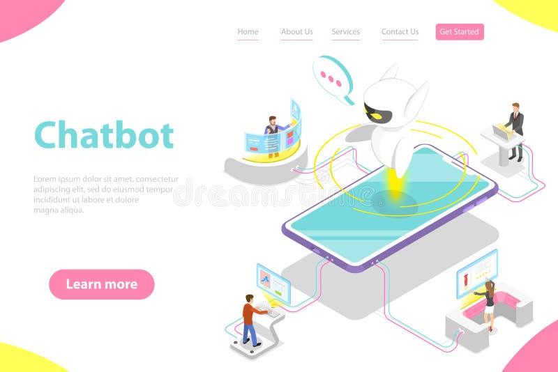 Επίπεδο isometric διανυσματικό προσγειωμένος πρότυπο σελίδων του chatbot, AI διανυσματική απεικόνιση
