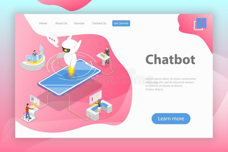 Επίπεδο isometric διανυσματικό προσγειωμένος πρότυπο σελίδων του chatbot, AI απεικόνιση αποθεμάτων
