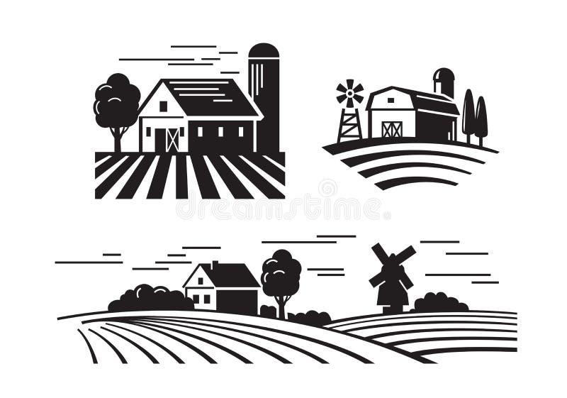 Επίπεδα αγροτικά εικονίδια διανυσματική απεικόνιση
