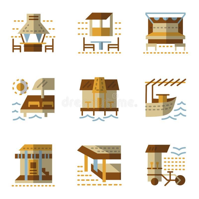 Επίπεδα απλά εικονίδια για τα μπανγκαλόου ελεύθερη απεικόνιση δικαιώματος