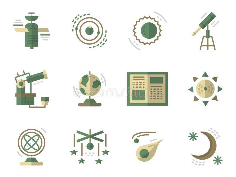 Επίπεδα απλά εικονίδια για την αστρονομία απεικόνιση αποθεμάτων