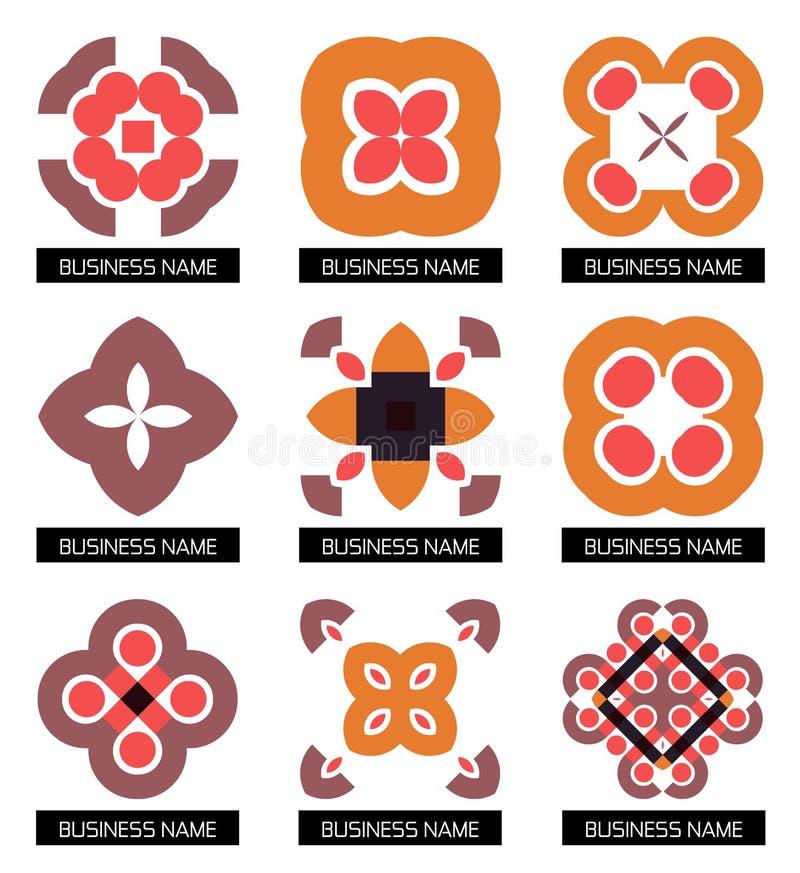Επίπεδα γεωμετρικά επιχειρησιακά σύμβολα. Σύνολο εικονιδίων απεικόνιση αποθεμάτων