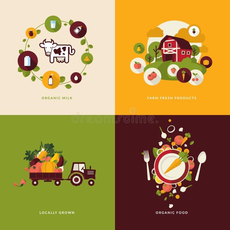 Επίπεδα εικονίδια έννοιας σχεδίου για τη οργανική τροφή απεικόνιση αποθεμάτων