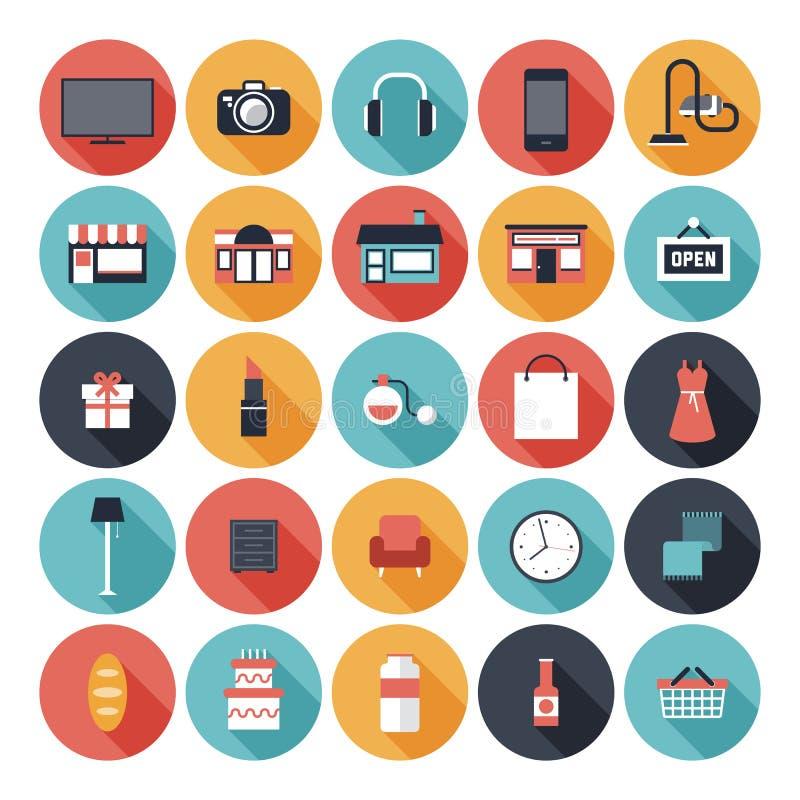 Επίπεδα εικονίδια αγορών καθορισμένα απεικόνιση αποθεμάτων