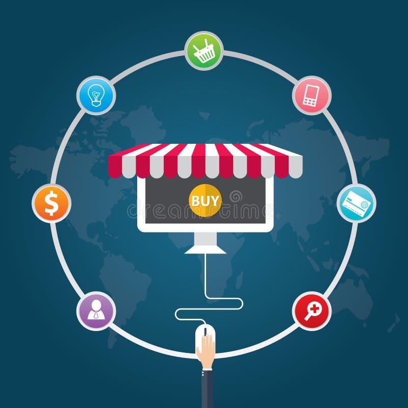 Επίπεδα εικονίδια απεικόνισης σχεδίου διανυσματικά των συμβόλων ηλεκτρονικού εμπορίου, μάρκετινγκ, on-line που ψωνίζουν διανυσματική απεικόνιση