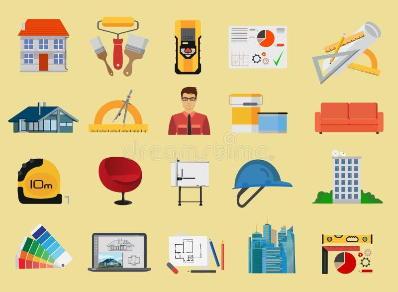 Επίπεδα εικονίδια αρχιτεκτονικής και κατασκευής καθορισμένα απεικόνιση αποθεμάτων