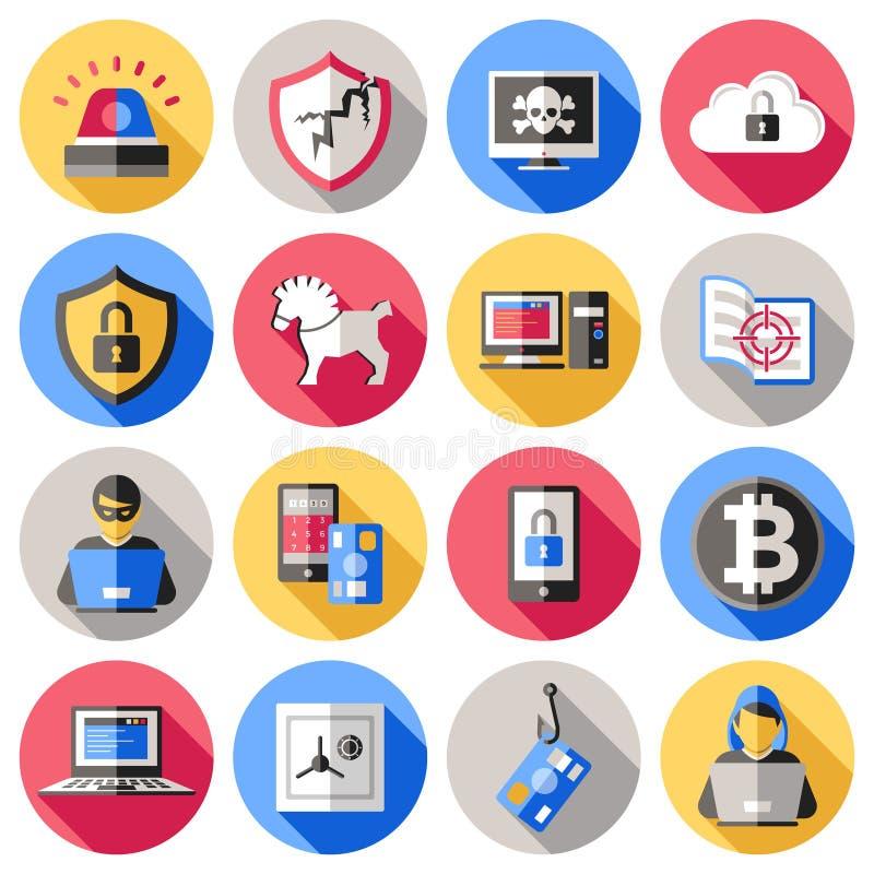 Επίπεδα εικονίδια ασφάλειας Διαδικτύου καθορισμένα απεικόνιση αποθεμάτων