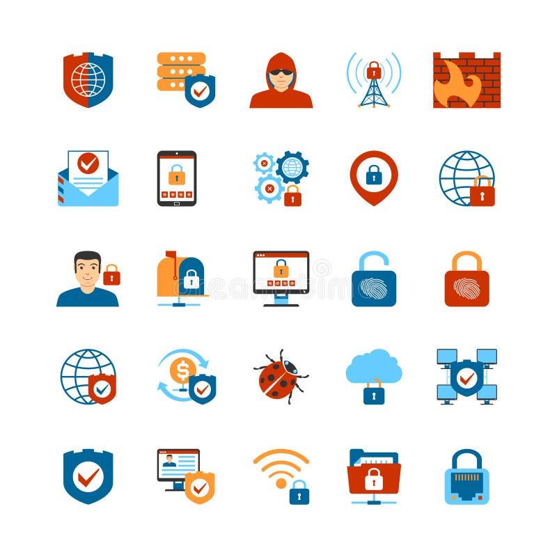Επίπεδα εικονίδια ασφάλειας Διαδικτύου σχεδίου ελεύθερη απεικόνιση δικαιώματος
