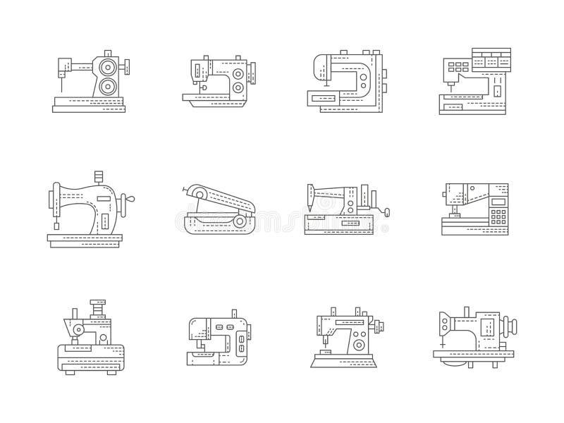 Επίπεδα εικονίδια γραμμών ράβοντας μηχανών καθορισμένα απεικόνιση αποθεμάτων