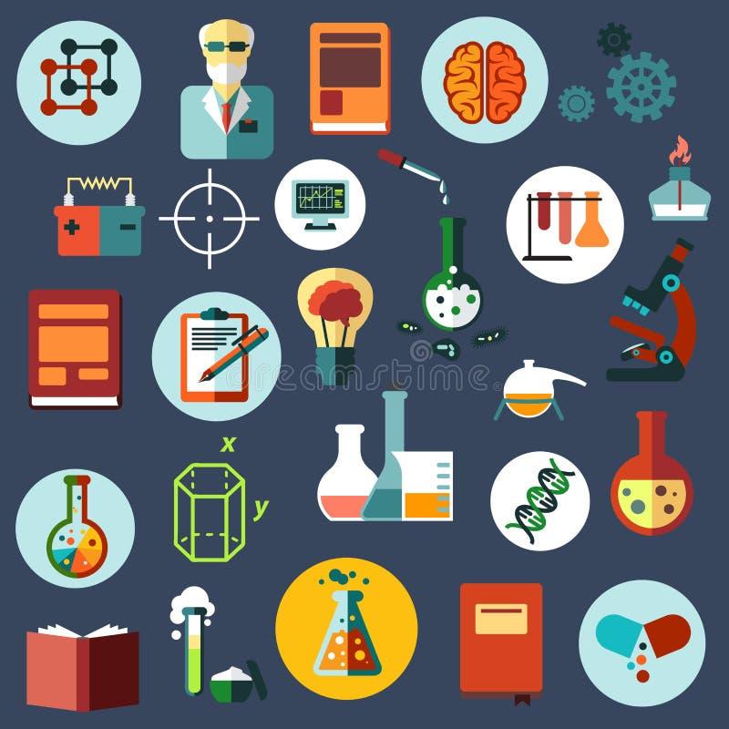 Επίπεδα εικονίδια επιστήμης και έρευνας ελεύθερη απεικόνιση δικαιώματος