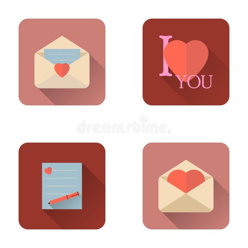 Επίπεδα εικονίδια επιστολών αγάπης ημέρας βαλεντίνων που τίθενται με τη μακριά σκιά ελεύθερη απεικόνιση δικαιώματος