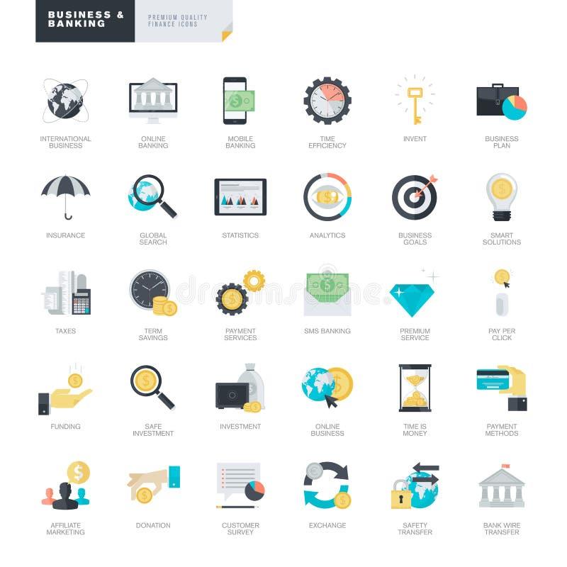 Επίπεδα εικονίδια επιχειρήσεων και τραπεζικών εργασιών σχεδίου για τους γραφικούς και σχεδιαστές Ιστού ελεύθερη απεικόνιση δικαιώματος