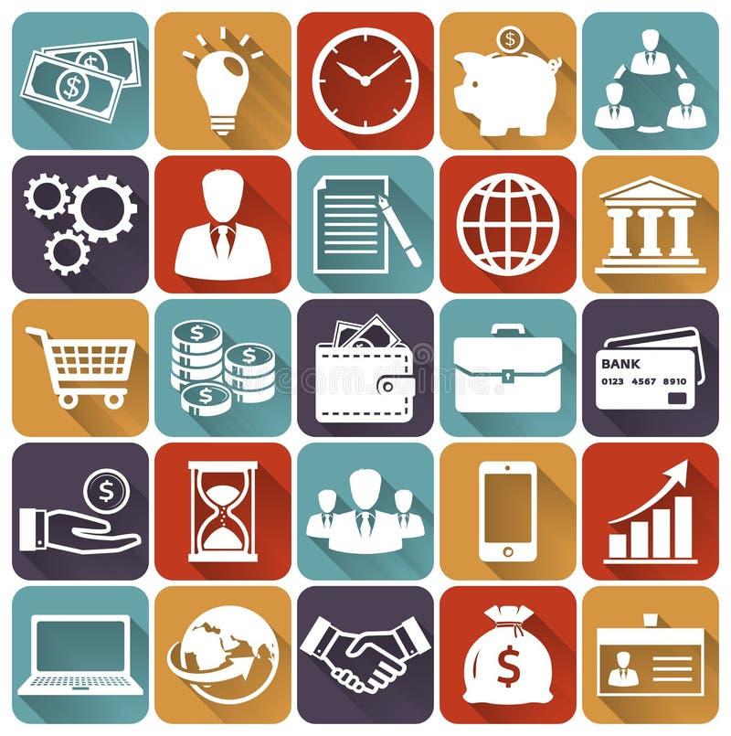 Επίπεδα εικονίδια επιχειρήσεων και χρηματοδότησης πολικό καθορισμένο διάνυσμα καρδιών κινούμενων σχεδίων διανυσματική απεικόνιση