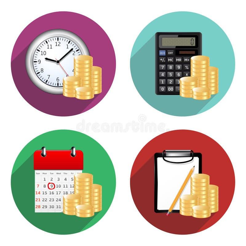 Επίπεδα εικονίδια επιχειρήσεων και χρηματοδότησης απεικόνιση αποθεμάτων