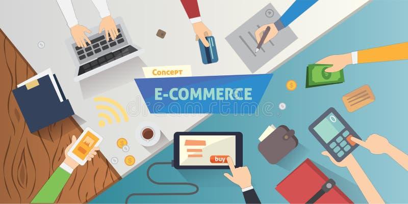 Επίπεδα εικονίδια ηλεκτρονικού εμπορίου ύφους σε απευθείας σύνδεση σχέδιο webpage εμβλημάτων κινητών καταστημάτων με τα στοιχεία  απεικόνιση αποθεμάτων