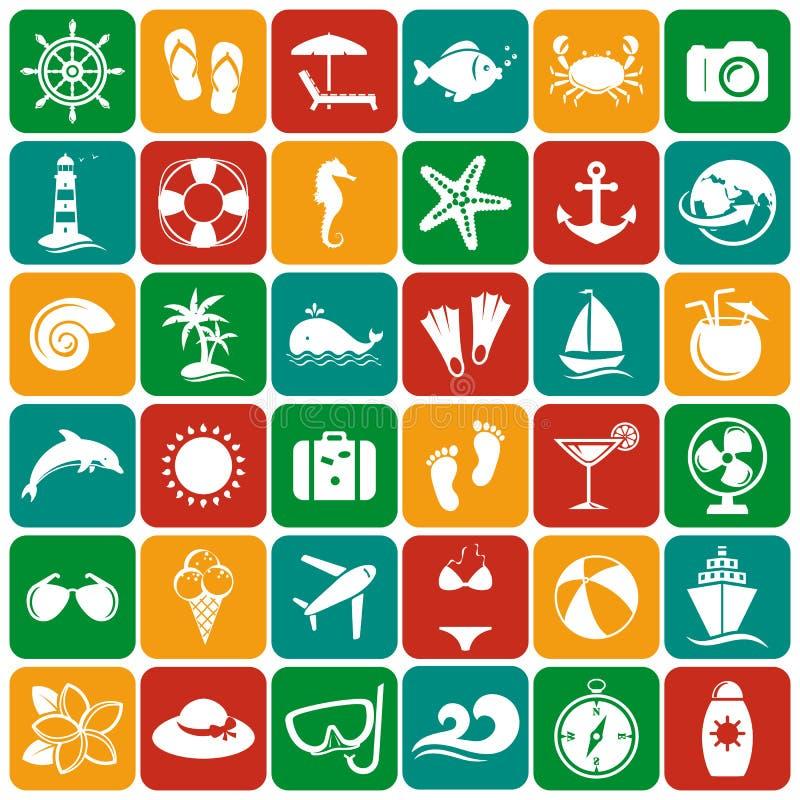 Επίπεδα εικονίδια θάλασσας και παραλιών πολικό καθορισμένο διάνυσμα καρδιών κινούμενων σχεδίων διανυσματική απεικόνιση