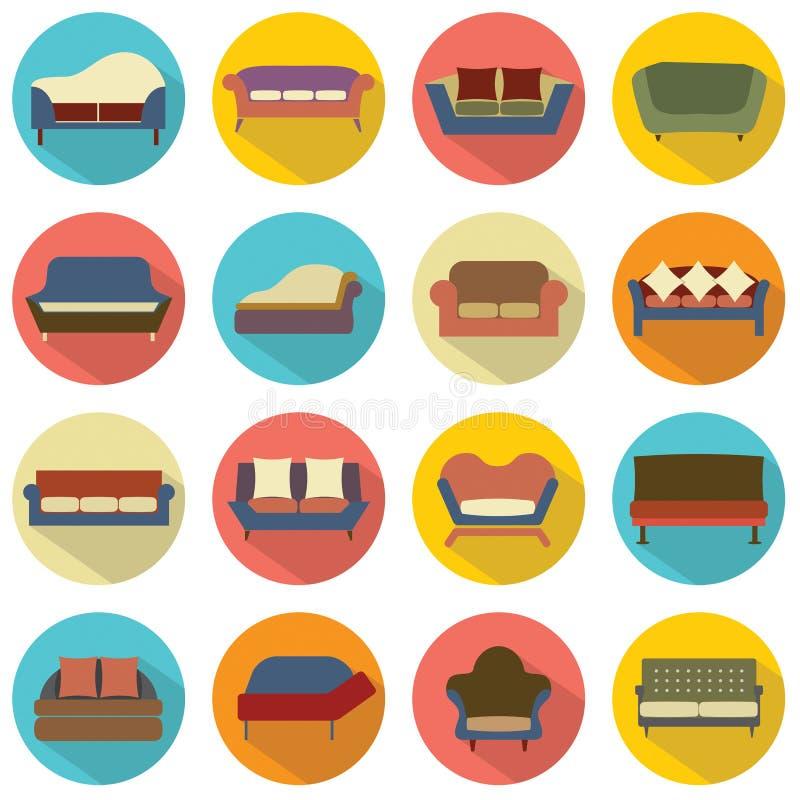 Επίπεδα εικονίδια καναπέδων σχεδίου διανυσματική απεικόνιση