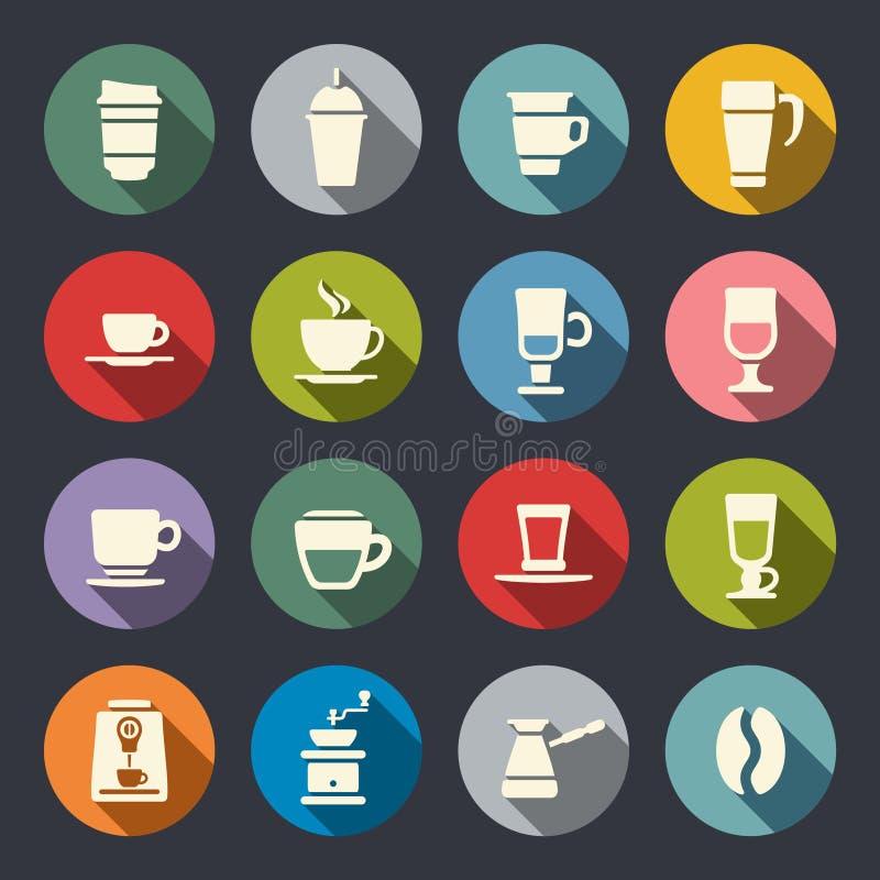 Επίπεδα εικονίδια καφέ. Διανυσματική απεικόνιση ελεύθερη απεικόνιση δικαιώματος