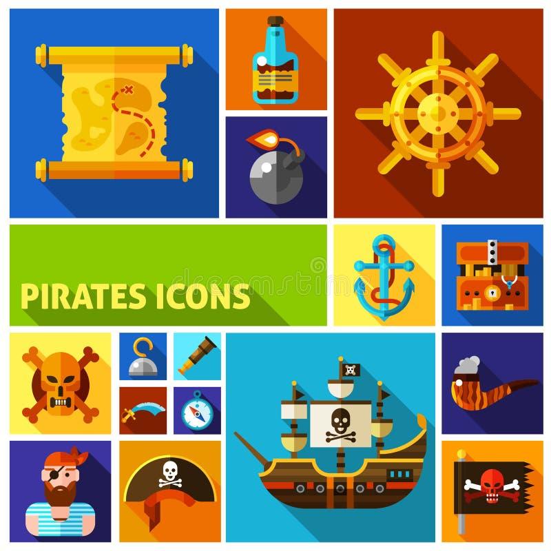 Επίπεδα εικονίδια κινούμενων σχεδίων πειρατών διανυσματική απεικόνιση