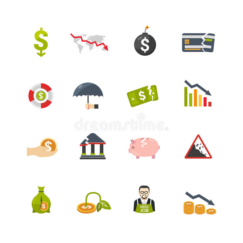 Επίπεδα εικονίδια κρίσης Finantial καθορισμένα απεικόνιση αποθεμάτων