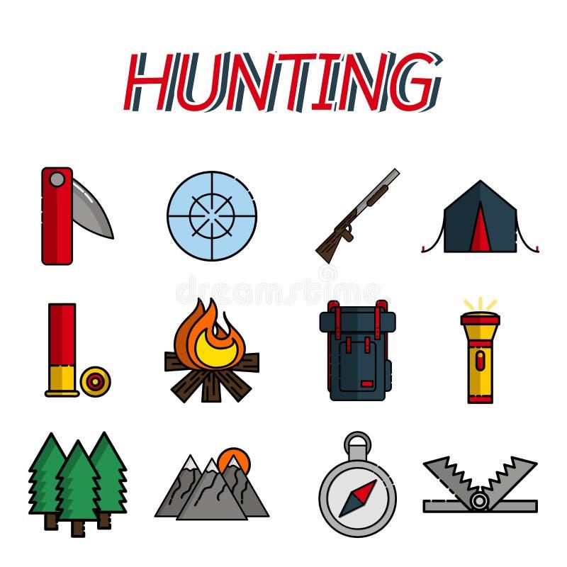 Επίπεδα εικονίδια κυνηγιού καθορισμένα διανυσματική απεικόνιση
