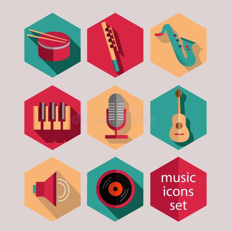Επίπεδα εικονίδια μουσικής καθορισμένα διανυσματική απεικόνιση