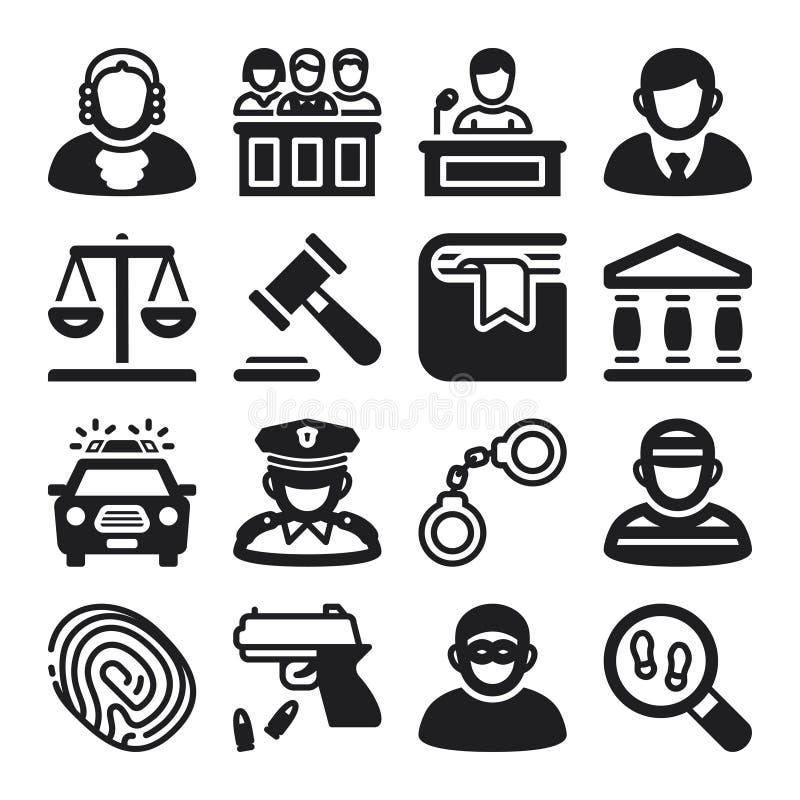 Επίπεδα εικονίδια νόμου μαύρα διανυσματική απεικόνιση