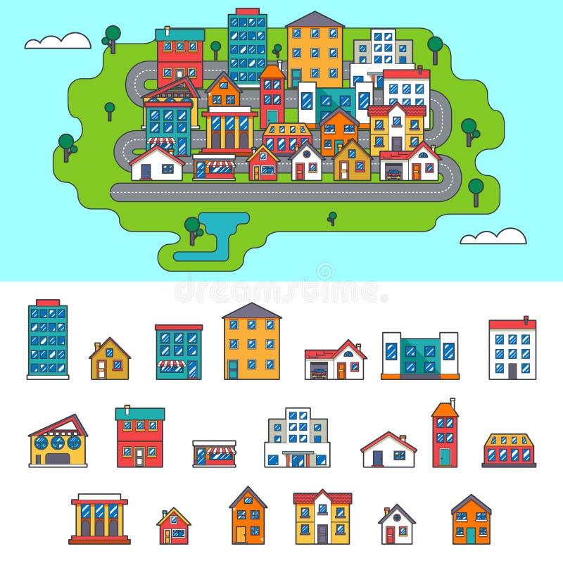 Επίπεδα εικονίδια οδών σπιτιών οικοδόμησης πόλεων ακίνητων περιουσιών ελεύθερη απεικόνιση δικαιώματος