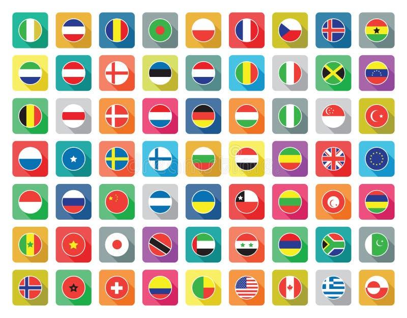 Επίπεδα εικονίδια παγκόσμιων σημαιών απεικόνιση αποθεμάτων
